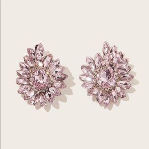 Brand New Pink Rhinestone Flower Stud Earrings